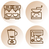 Set of coffee machines line icons with coffee mill, coffee maker, coffee grinder and blender. - 246637781