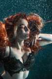 Portrait of red haired freediver girl - 246638755