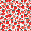 Cute strawberries and hearts vector background pattern - 246644570