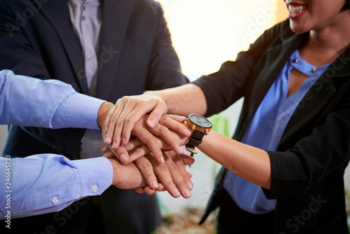 Zobacz obraz Cropped image of business team stacking hands to express unity and improve communication