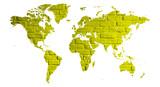 mapa świata z cegły jako plakat lub grafika na ścianę