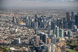 MELBOURNE - SEPTEMBER 8, 2018: Aerial city view from helicopter. Melbourne attracts 15 million people annually - 246656197