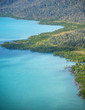Beautiful coastline of Queensland with forest, aerial view