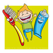 Toothbrush, Toothpaste and kid funny vector illustration - 246659720