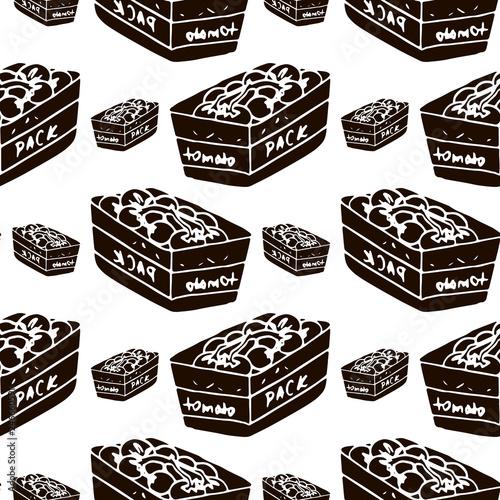 tomato pack vector seamless pattern © fiodarpiatrykin