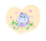 Cute cartoon girl hippo lying on the ground among flowers with the heart background. Hand drawn vector illustration.