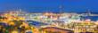 Leinwanddruck Bild - Panoramic View of Barcelona Harbor and Marina at NIght