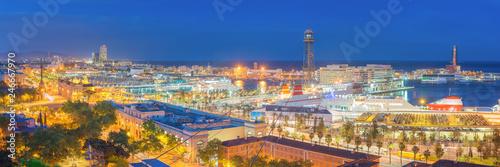 fototapeta na ścianę Panoramic View of Barcelona Harbor and Marina at NIght