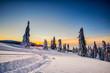 Leinwanddruck Bild - Winter trekking Beskidy mountains Rysianka