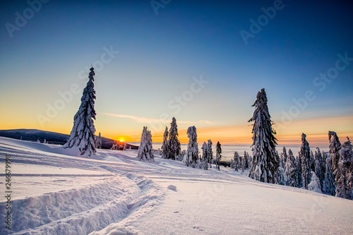 Leinwanddruck Bild Winter trekking Beskidy mountains Rysianka