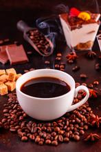 "Постер, картина, фотообои ""The invigorating morning coffee with sweets. It can be used as a background"""