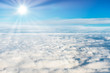 Blue sky and white clouds with sun rays