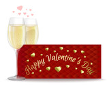 Two glasses of champagne on the background of a greeting card. Valentines Day design. Vector illustration