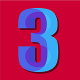 Number three vector abstraction for illustration
