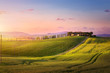 Leinwandbild Motiv beautiful sunset in Tuscany; Italy landscape