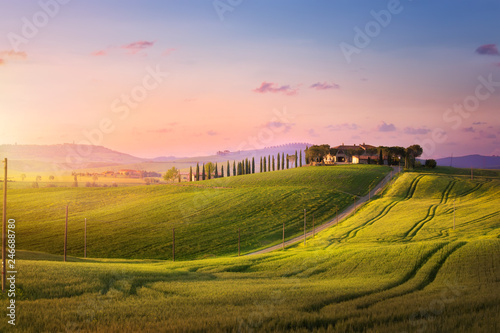 beautiful sunset in Tuscany; Italy landscape - 246688780