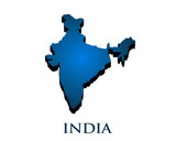 India Country 3D Map. Vector Illustration