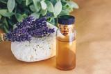 Lavender essential oil in bottle.