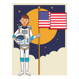 astronaut with flag - 246718748
