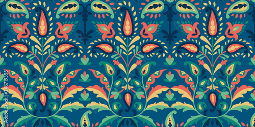 Vector seamless colorful pattern in paisley style. Vintage decorative background. Hand drawn ornament. Oriental bohemian motifs. Wallpaper, fabric, wrapping paper print.