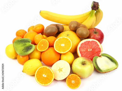 different fruit whole and sliced on white background - 246720124