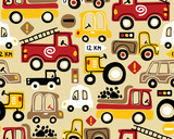 Seamless pattern vector with vehicles cartoon