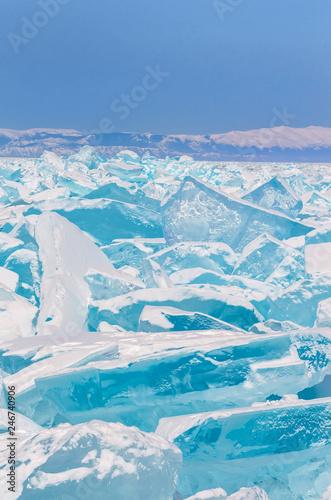 fototapeta na ścianę Turquoise ice hummock on the ice of lake Baikal, Russia