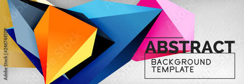 3d polygonal shape geometric background, triangular modern abstract composition - 246744509