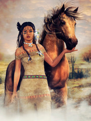 Colorful scene with a young native American woman standing next to a horse. 3D render.