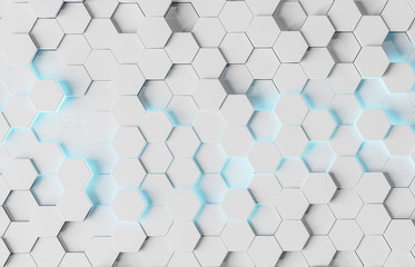 White and blue hexagons background pattern 3D rendering