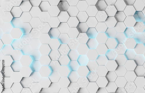 White and blue hexagons background pattern 3D rendering - 246758709