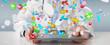 Leinwandbild Motiv Doctor giving colorful pills for treatment 3D rendering