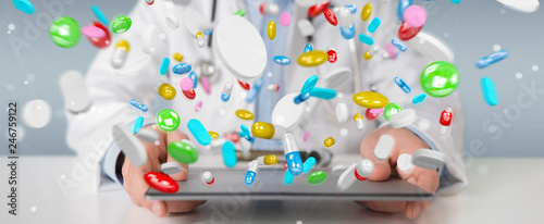Doctor giving colorful pills for treatment 3D rendering © sdecoret