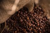 Coffee beans in jute bag.