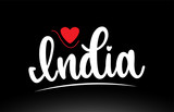 India country text typography logo icon design on black background
