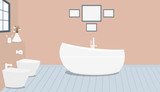 Provencal style bathroom with fashionable bath,toilet, bidet, toilet paper,vase with snowdrops,a window,paintings on terracotta wall.Wooden planks on floor.Vector illustration