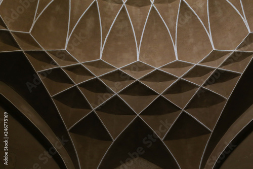 Persian Indoor ceiling decoration in Dowlat Abad Garden, Yazd, Iran © Skaniai