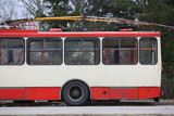 Red electric trolleybus in Vilnius Lithuania