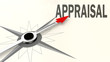 Appraisal word on compass with red arrow