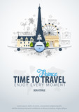 Travel to France. Time to Travel. Banner with airplane and hand-draw doodles on the background. Vector Illustration.