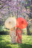 Asian woman wearing traditional japanese kimono with sakura background
