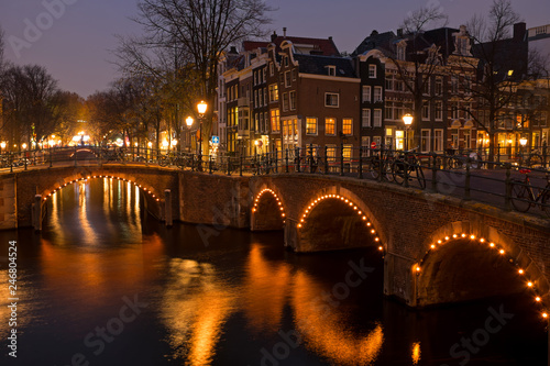 City scenic from Amsterdam in the Netherlands at sunset - 246804524