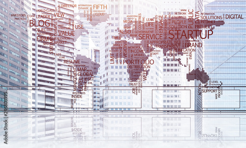 Concept of global communication and networking with world map over cityscape - 246808995