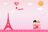 Valentines day background in paper cut style design. A couples holding heart shape at Eiffel tower parks. Couple lovers scenery in Paris with air balloon. Vector illustration