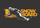 Snowboarder man riding on slope. Winter sport label on the dark background - 246829595