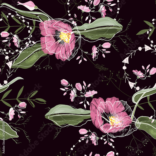 Vintage background. Wallpaper.  Hand drawn. Vector illustration. Trendy floral pattern. Isolated seamless pattern. - 246831318