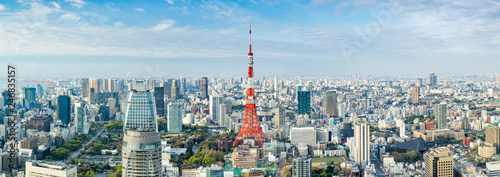 canvas print picture Tokyo Panorama mit Tokyo Tower, Japan