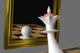 The Queen looks in the mirror, sees the Pawn in the reflection. On a gray background. 3D-rendering, illustration. - 246840708
