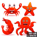 Marine life. Animals A fish. Octopus, shrimp, starfish. Cartoon style. For your design.