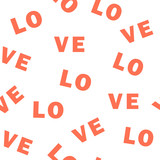 Romantic Valentines day love seamless pattern The inscription Love, letters. Vector illustration.
